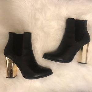 NEW Black Booties W/ Gold Heel